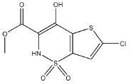 6-chloro-4-hydroxy-3-metho-xycarbonyl-2H-thieno[2,3-e]-1,2-thiazine- 1,1-dioxide Structure