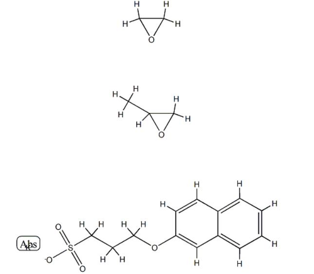 Sulfopropylated polyalkoxylated beta-naphthol, alkali salt Structure